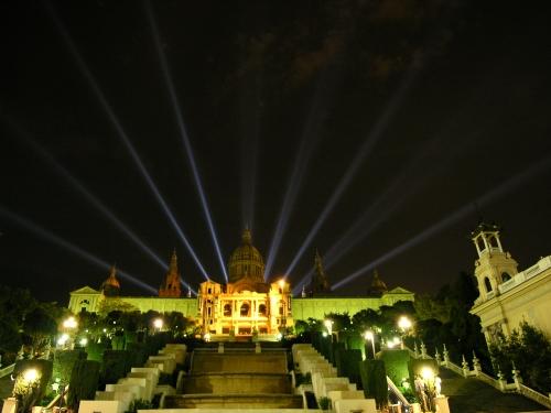 Slottet på toppen af Montjuic - den olympiske by